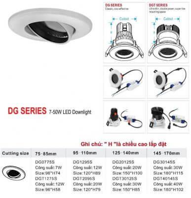 DG- Series đèn âm trần xoay góc