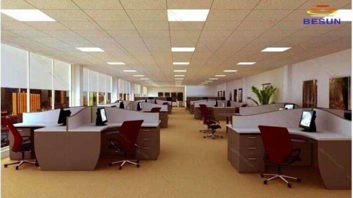Đèn led panel 600x600 mpe trong văn phòng