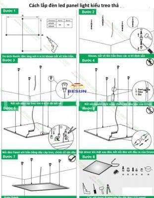 Cách lắp đèn Led panel light kiểu treo thả