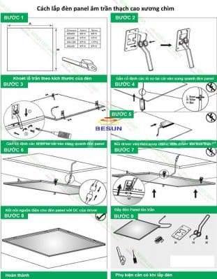 Cách lắp đèn panel âm trần khung trần chìm