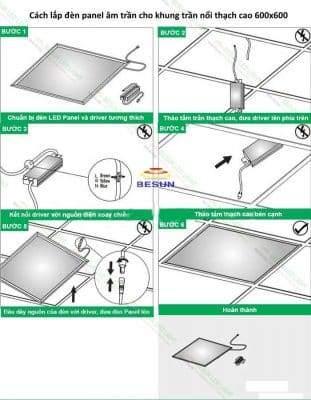 Cách lắp đèn panel âm trần